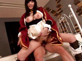 Divine maid Honami Uehara with huge tits gladly gives a seductive orall-service