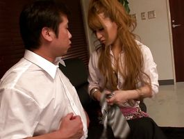 Topnotch barely legal Erika Aisaki gave a blowjob to male 'cuz she likes to keep him completely satisfied