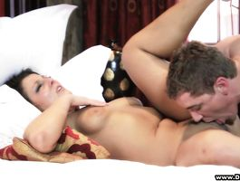 Savory brunette sweetheart Alice Green is whimpering while being roughly plowed in doggy style
