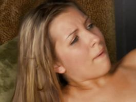 Enticing blonde honey with wet cave reaches a big and hard orgasm