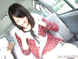 Lewd Mikako Abe with big tits rides a pike like eager