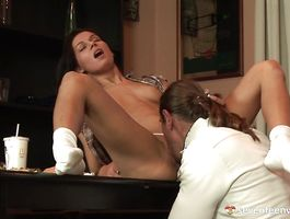 Attractive boyfriend has his big rod swallowed by charming dark-haired maiden Maxima