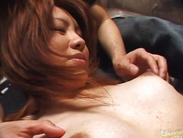 Heavenly young Kaori Manaka with huge tits blows a big dick previous to being impaled on it