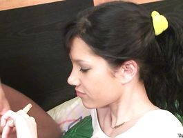 Charming bimbo Mariana gives a very special fellatio job