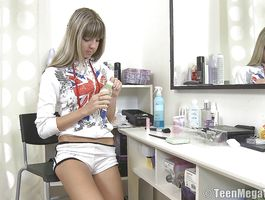 Voluptous juvenile Valya C sitting on a phallus for her agonorgasmos