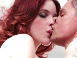 Tasty redhead Amarna Miller gets mouth fucked by gracious hunk