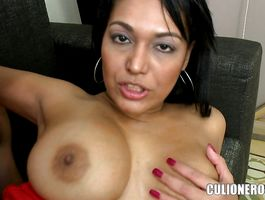 Lusty slut sits down on a cock and she grinds