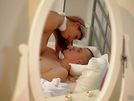 Dissolute blond Katerina with massive tits is so horny that she strips while riding knob
