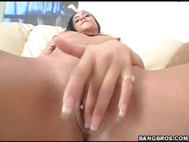 Topnotch latin brunette gal is finally getting some tool