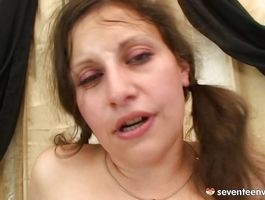 Curvaceous brown-haired Cathy E gets brutally pounded