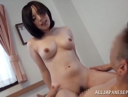 Engaging beauty with impressive tits gets naked sucks pipe and rides it hard