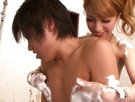 Tempting Erika Aisaki is sucking lovestick like a pro and enjoying as much as vagina tester