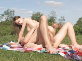 Slender brown-haired bimbo Beata Undine is gently sucking dude's sausage and enjoying as much as he's