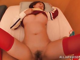 Striking big titted young Hina Kamikawa got cum all over her fanny and enjoyed as much as fuckmate did