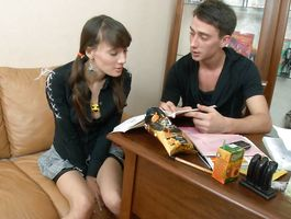 Slutty brown-haired diva Agnese gladly slobbers over a nice hard cock