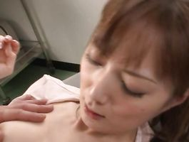 Foxy barely legal woman Kaede Fuyutsuki gives a sloppy oral job to him