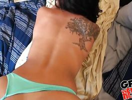 Sassy brunette perfection wraps her fat lips around a nice dick