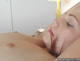 Sexy barely legal gal got a huge phallus up her tight bum and enjoyed until she cummed