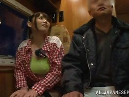 Tempting bosomed Honami Uehara has a massive smile on her face while having steamy sex