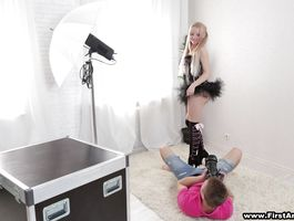 Luxurious blond Olivia Grace got fucked in a doggy style position until she started moaning from pleasure