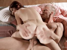 Beautiful brown-haired perfection Janice cheerfully jerks a fucker's hard schlong