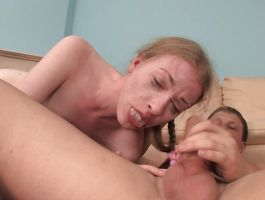 Lovable red-haired Heaven passionately rides her buddy's face and pulsating member