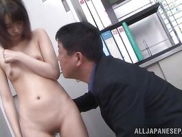Charming Iku Natsumi has a smile on her face while being plowed