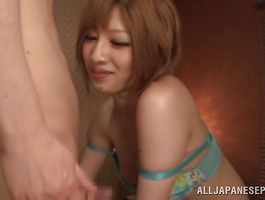 Charming big breasted teen Kotone Nishida is spreading her legs wide and getting fucked very hard