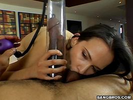 Ravishing brown-haired Cristina Agave getting her pussy drilled down