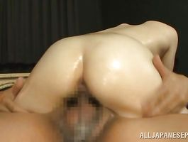 Pleasing bosomed barely legal Sunao Sakura stands in doggie feeling dinky in wet cave