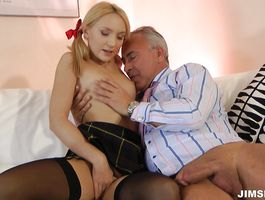 Inviting blond Nataly Von is sucking a meaty fuck stick like a real pro and enjoying it