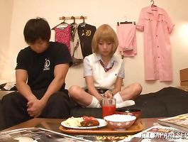 Carnal blond teen Tsubomi got banged from the back