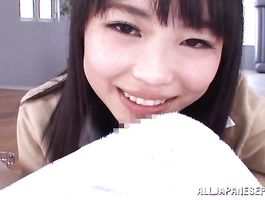 Dishy breasty honey Akane Yoshinaga likes to use her jugs to satisfy pal