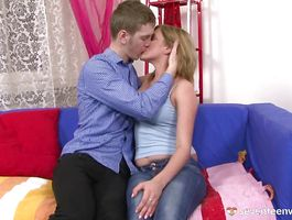 Limp cock quickly got rock hard in savory teen blond Madlen's experienced mouth