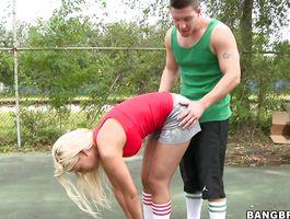 Tasty blond Bridgette B is ready to suck a dick