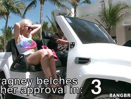 Slender blond bimbo Kagney Linn Karter shows her merry tits and sucks