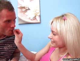 Nasty golden-haired Alisa with huge natural tits enjoys sucking intense a large and hard meat