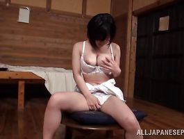 Classy busty lady Kazari Hanasaki bounces on thick prick like a wild animal