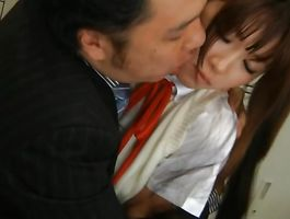Delightsome floosy Miho Imamura blowjobs the stud with her mouth