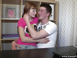 Concupiscent young redhead Kate G enjoys having her juice pussy slammed by fuckmate