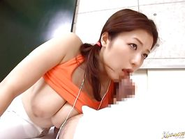 Sexy big boobed Meisa Hanai sucks and rides a hard prick