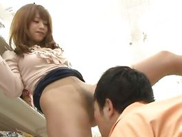 Stupefying Akiho Yoshizawa widens her legs for her buddy